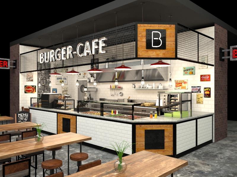 Дизайн-проект бургерного кафе на фуд-корте, фуд-холле в стиле лофт
