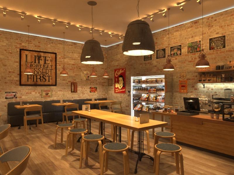 Дизайн-проект кафе Лакомка в Москве в стиле лофт