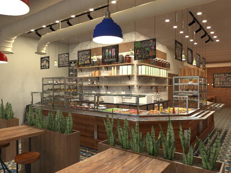 Дизайн-проект кафе-кулинарии в стиле лофт