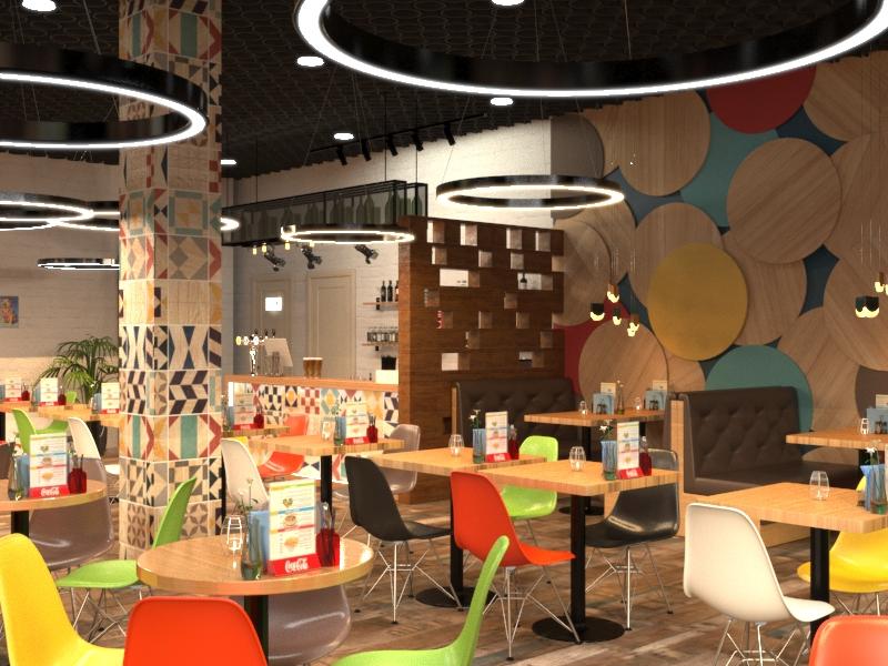 Дизайн бургерного кафе, ресторана